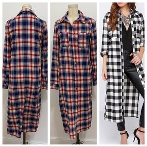 Anthropologie Flannel Duster Tunic Top!